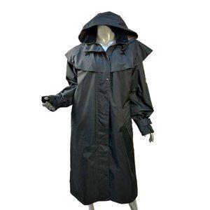 Jack Murphy Malvern Waterproof Bush Coat Black Check Lining Hooded Rain Cape